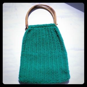 Boho Vintage green crochet purse